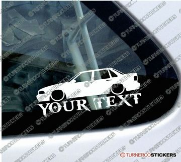 2x Lowered Volvo S70 T5 sedan (1996-2000) YOUR TEXT custom car silhouette STICKERS